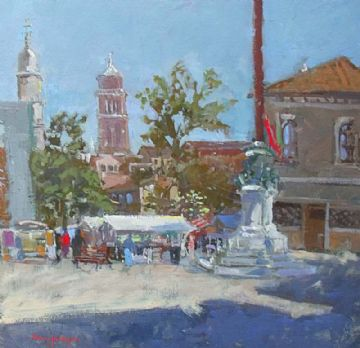 Mary Jackson Oil Painting Italian Town Fish Market Scene